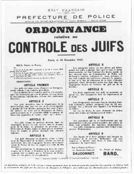 "<p>French government announcement concerning antisemitic legislation. <a href=""/narrative/6033"">Paris</a>, France, December 10, 1941.</p>"