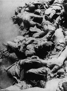 "<p class=""document-desc moreless"">Victims of Ustasa (Croatian fascist) atrocities: the bodies of <a href=""/narrative/5875/en"">Jasenovac</a> prisoners floating in the Sava River.  Between August 1941 and April 1945. </p>"