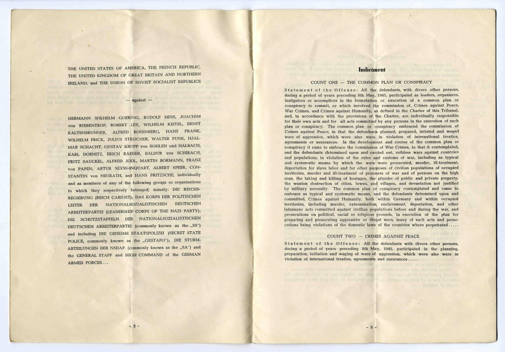 "<p>Second and third pages of a program booklet distributed during the <a href=""/narrative/9366"">International Military Tribunal</a> at Nuremberg. Note the <a href=""/narrative/9734"">definitions</a> of the conspiracy charge and crimes against peace, brought in the indictment.</p>"