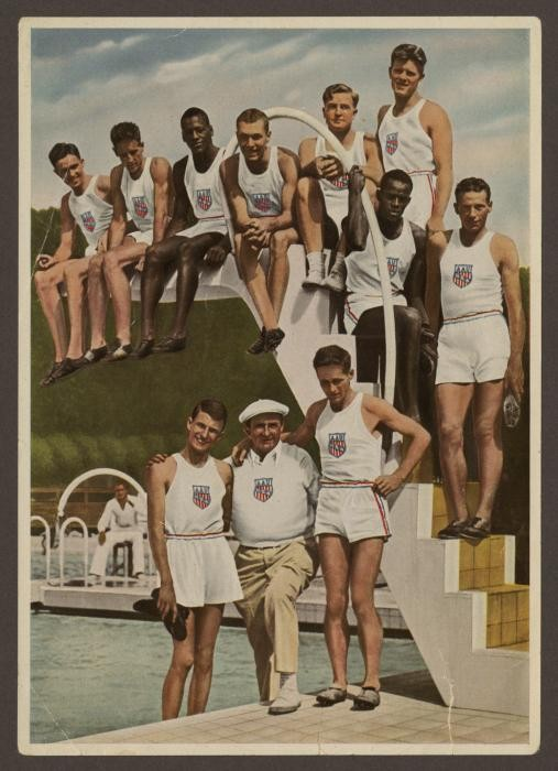 """<p>Cigarette card portraying some of the American track and field athletes who competed in the <a href=""""/narrative/7139"""">1936 Olympics in Berlin</a>, Germany. The US team was the second largest to compete in the 1936 Summer Olympic Games with 312 members, including <a href=""""/narrative/9625"""">18 African Americans</a>.</p> <p>Cigarette cards were collectible cards often included in packages of cigarettes into the 1940s.</p>"""