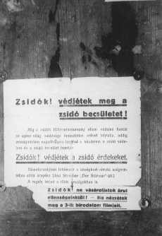 "<p>This poster urges Jews to: ""Protect Jewish interests. Do not buy from our enemies. Do not watch their movies."" <a href=""/narrative/6206"">Hungary</a>, 1937–38.</p>"
