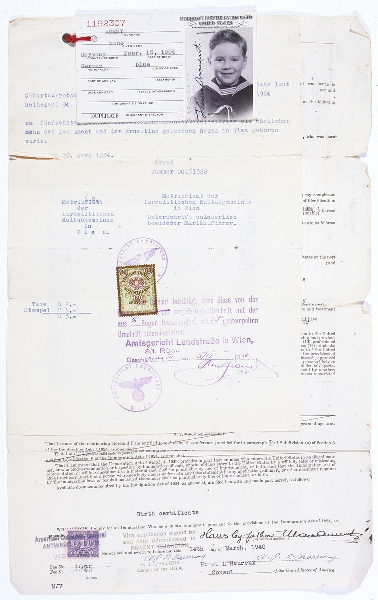US immigration visa application of Hans Ament