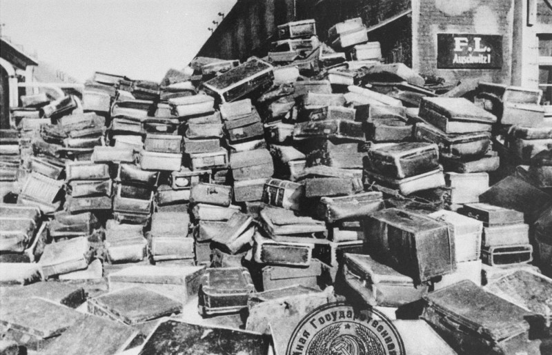 "<p>Suitcases that belonged to people deported to the <a href=""/narrative/3673"">Auschwitz</a> camp. This photograph was taken after Soviet forces liberated the camp. Auschwitz, Poland, after January 1945.</p>"