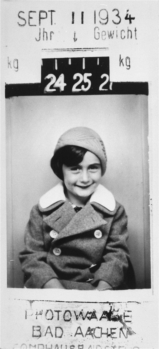 "<p><a href=""/narrative/142"">Anne Frank</a> at five years of age. Bad Aachen, Germany, September 11, 1934.</p>"