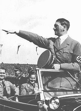 Hitler salutes the youth ranks at the Nazi Party Congress. [LCID: 05316]
