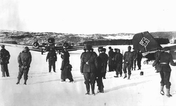 German troops and bombers on an improvised airfield during the battle for Norway, May 3, 1940. [LCID: 91245a]
