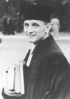 "<p><a href=""/narrative/271/en"">Martin Niemöller</a>, a prominent Protestant pastor who opposed the Nazi regime. He spent the last seven years of Nazi rule in <a href=""/narrative/2689/en"">concentration camps</a>. Germany, 1937.</p>"