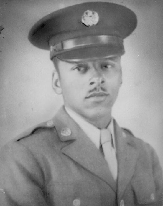 "<p>Portrait of Sergeant Leon Bass during <a href=""/narrative/2388"">World War II</a>. As an 18-year-old, he volunteered to join the US Army in 1943. Bass and other members of the all African-American 183rd unit witnessed Buchenwald several days after <a href=""/narrative/2317"">liberation</a>. After the war, he became a teacher and was active in the civil rights movement.</p>"