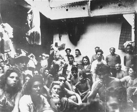 "<p>Refugees, previously passengers on the ship ""Exodus 1947,"" crowded on a British deportation ship. Port-de-Bouc harbor, France, July 28, 1947.</p>"