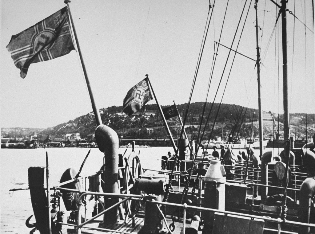 "<p>German ships at a Norwegian port. <a href=""/narrative/6313"">Norway</a>, May 3, 1940.</p>"