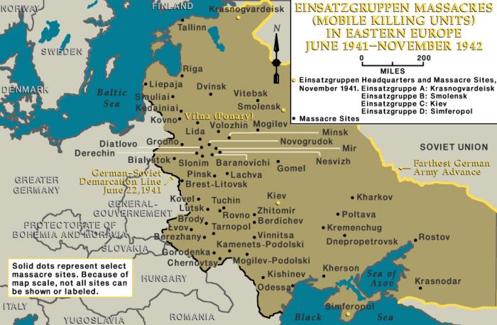 Einsatzgruppen massacres in eastern Europe, June 1941-November 1942