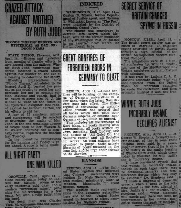 Seward Daily Gateway article about book burning