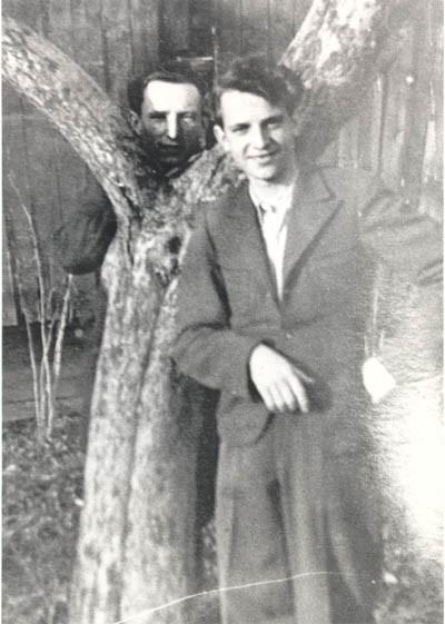 Tadek Soroka (right), a Pole who helped Aron and Lisa escape from Poland. [LCID: derm5]