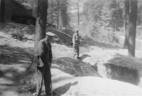 <p>Two survivors at one of the human-ash pits in the Dora-Mittelbau concentration camp, located near Nordhausen. Germany, April-May 1945.</p>