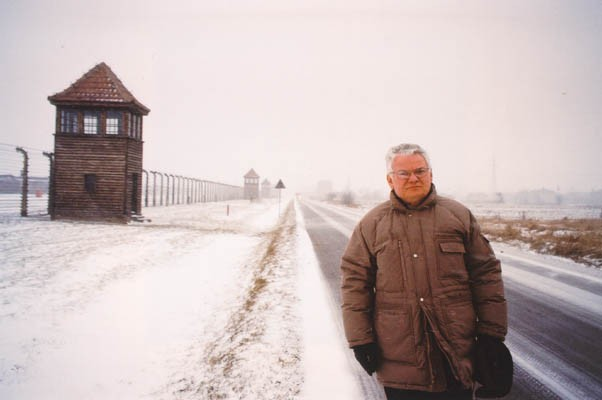 Thomas at Auschwitz in 1995, fifty years to the day after his forced march out of the camp as a child.