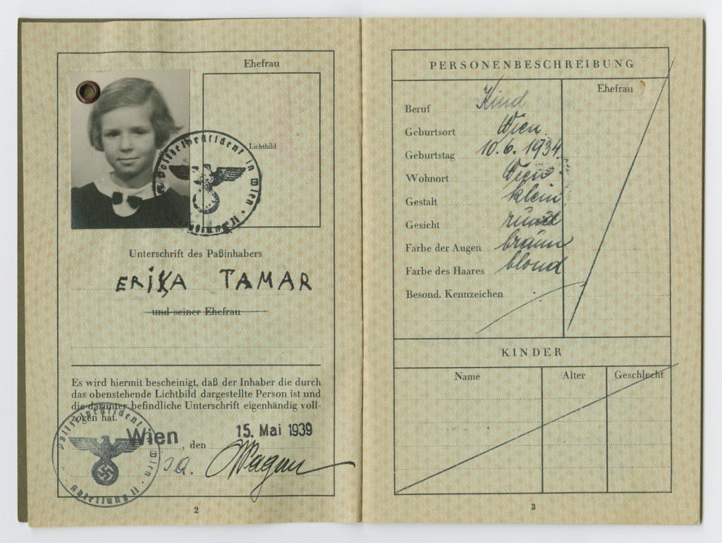 Identification papers issued to Erika Tamar