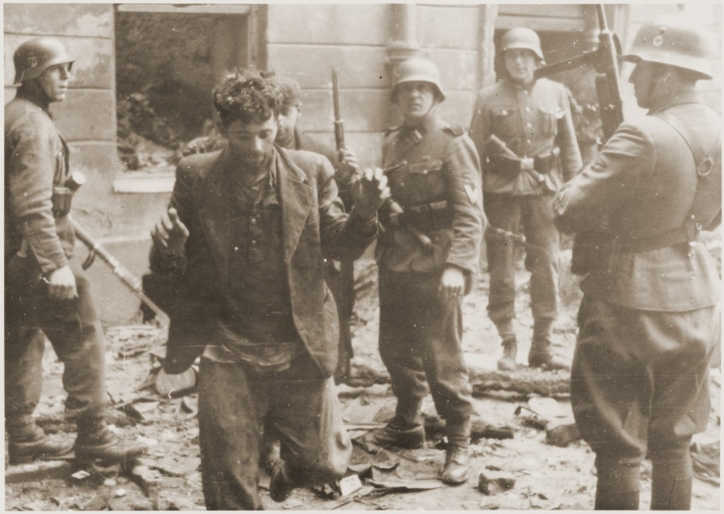 Jews captured during the Warsaw ghetto uprising. Poland, April 19-May 16, 1943. [LCID: 41056]