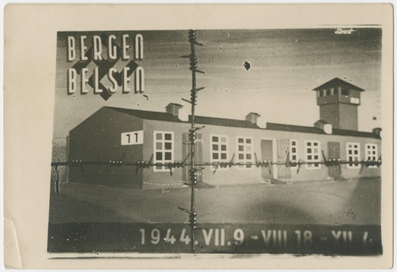 Commemorative postcard with a drawing of barrack 11 of Bergen-Belsen and marking the time the people on the Kasztner train spent ... [LCID: 62307]