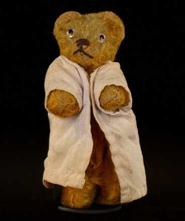 At some point after the war, Sophie received this small stuffed bear (about three inches high) as a present from her mother. [LCID: bear]