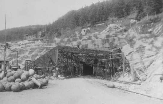 View of a tunnel entrance to the rocket factory at the Dora-Mittelbau concentration camp, near Nordhausen.