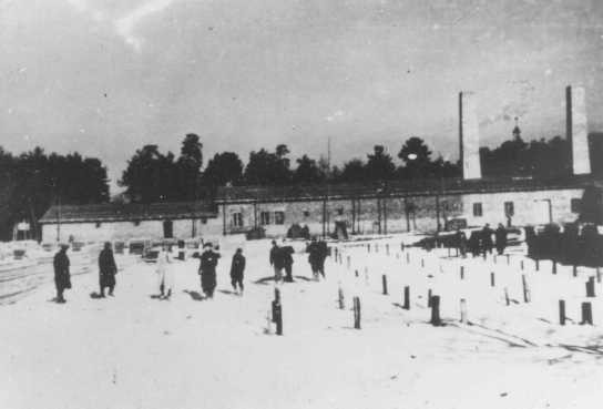 <p>Crematorium 4 under construction. This crematorium was later destroyed during an uprising in the camp. Auschwitz-Birkenau, Poland, winter 1942-1943.</p>