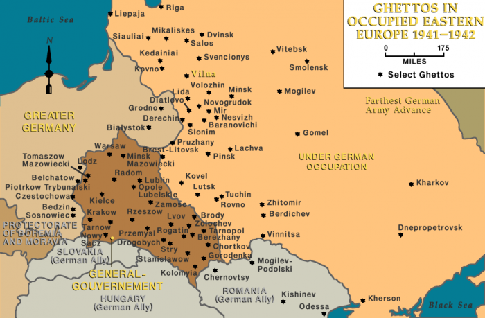 Ghettos in occupied eastern Europe, 1941-1942, Vilna indicated