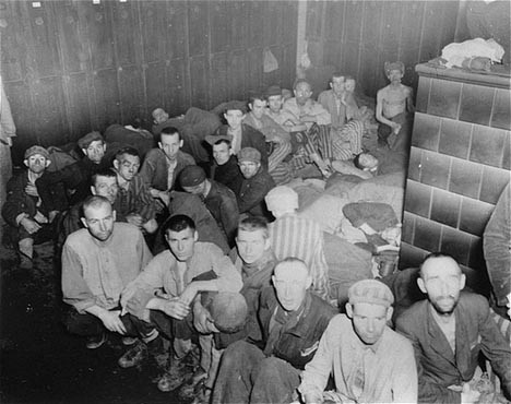 Camp survivors in barracks at liberation. Dachau, Germany, April 29-May 1, 1945. [LCID: 85559]