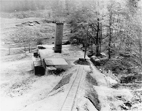 "<p>The crematorium building at the <a href=""/narrative/6783"">Flossenbürg</a> concentration camp. Flossenbürg, Germany, May 1945.</p>"
