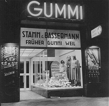 """Aryanization"" of Jewish-owned businesses: a formerly Jewish-owned store (Gummi Weil) expropriated and transferred to non-Jewish ... [LCID: 89725]"
