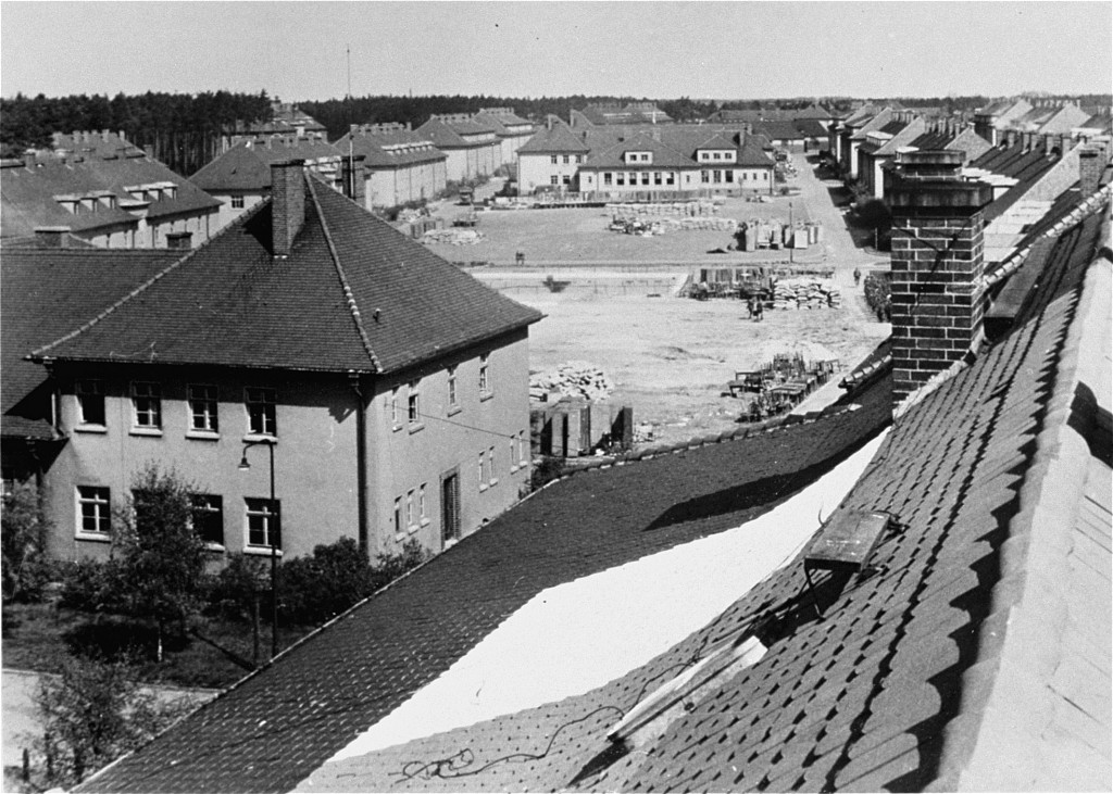 "<p>Former quarters of the German army converted into displaced persons housing. <a href=""/narrative/9359"">Bergen-Belsen</a>, Germany, May 1945.</p>"