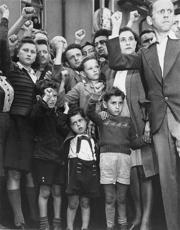 "<p>Jewish displaced persons protest Britain's decision to send back to Germany the Jewish refugees from the ship <a href=""/narrative/5265""><em>Exodus 1947</em></a>. Photograph taken by Henry Ries. Hohne-Belsen displaced persons camp, Germany, September 1947.</p>"