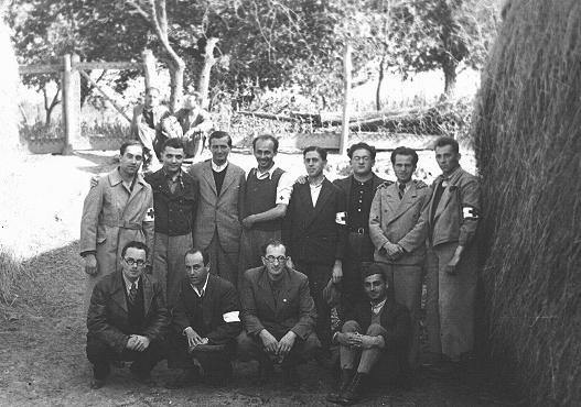 Twelve Hungarian Jewish physicians in the Iklad forced-labor camp. [LCID: 02320]