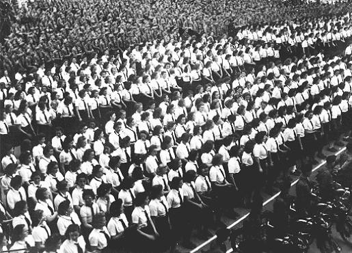 <p>Following the German occupation of Luxembourg, members of the Luxembourg People's Youth organization join Nazi youth groups such as the Hitler Youth. Luxembourg, June 4, 1941.</p>