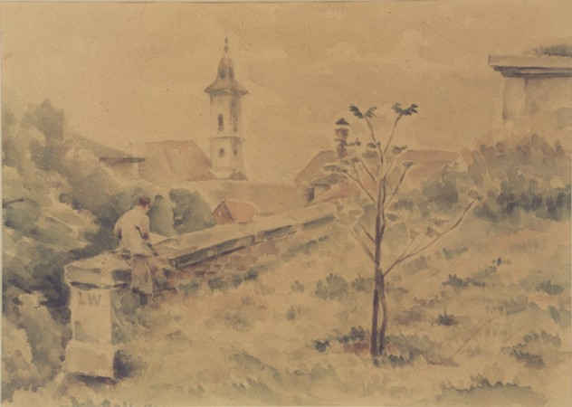 "<p>1943 watercolor landscape of <a href=""/narrative/5386/en"">Theresienstadt</a> painted by Otto Samisch. Despite the terrible living conditions and the constant threat of deportation, Theresienstadt had a highly developed <a href=""/narrative/10966/en"">cultural life</a>.</p>"