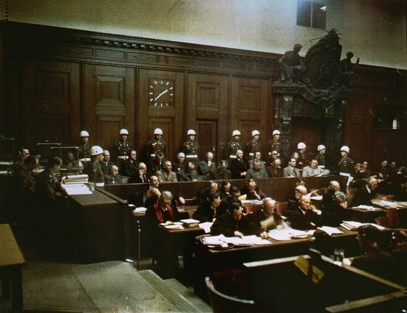 "<p>The <a href=""/narrative/9934/en"">accused</a> and their defense attorneys in the courtroom during the <a href=""/narrative/9366/en"">International Military Tribunal</a>. Nuremberg, Germany. </p>"