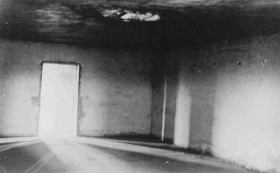 """<p>Inside one of the <a href=""""/narrative/4537"""">gas chambers</a> at <a href=""""/narrative/10673"""">Majdanek</a>. Majdanek, Poland, after July 24, 1944.</p>"""