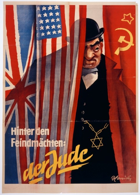 "<p><a href=""/narrative/81"">Nazi propaganda</a> often portrayed Jews as engaged in a conspiracy to provoke war. Here, a stereotyped Jew conspires behind the scenes to control the Allied powers, represented by the British, American, and Soviet flags. The caption reads, ""Behind the enemy powers: the Jew."" Circa 1942.</p>"