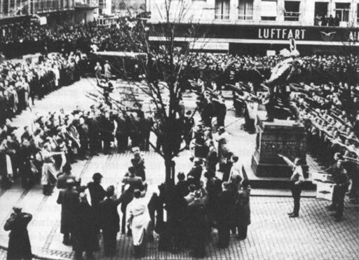 <p>Danish fascists demonstrate their solidarity with the occupying Germany powers. The rally ended in street fighting. Copenhagen, Denmark, November 1940.</p>