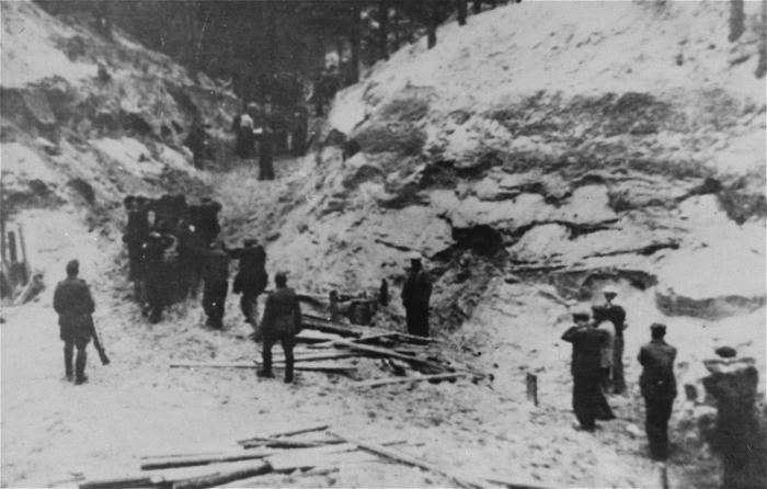 Groups of Jewish men being forced into the Ponary forest