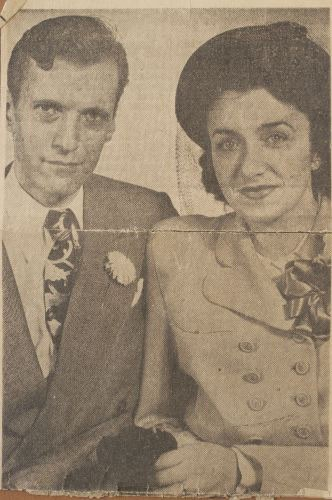 """<p>This wedding photo of <a href=""""/narrative/10214"""">Blanka</a> and her husband Harry appeared in an Oregon newspaper. Blanka has no other photo of their wedding. """"The war taught me that things are not important,"""" she says.</p>"""