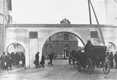 "<p>Entrance to the ""big"" ghetto in Radom before its destruction later in 1942. Radom, Poland, ca. 1942.</p>"