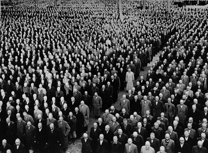 "<p>Roll call for newly arrived prisoners, mostly Jews arrested during <a href=""/narrative/4063/en""><em>Kristallnacht</em></a> (the ""Night of Broken Glass"" pogrom), at the Buchenwald concentration camp. Buchenwald, Germany, 1938.</p>"