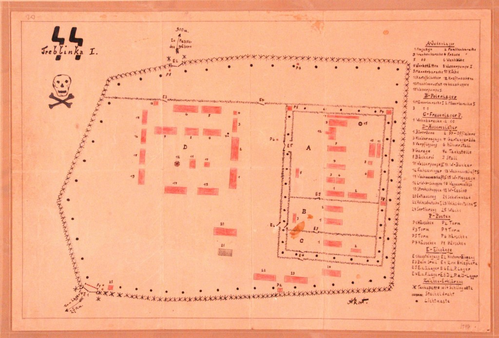 "<p>This map of the <a href=""/narrative/3819/en"">Treblinka</a> I forced-labor camp was drawn by Holocaust survivor Manfred Kort in 1946. In 1990 Kort donated the map to the United States Holocaust Memorial Musem. In March 1997, at the request of the Office of Special Investigations, the Museum sent the original drawing to Chicago to be used as evidence at the trial of one Bronislaw Hajda. At the conclusion of Hajda's trial on April 10, 1997, the U.S. Department of Justice announced that ""a federal judge in Chicago has revoked the naturalized US citizenship of an Illinois man who took part in a massacre of Jews while serving as a guard at a Nazi forced-labor camp in German-occupied Poland during World War II and who subsequently concealed his activities from U.S. officials when he applied to immigrate to the United States on May 24, 1950."" As this document shows, physical <a href=""/narrative/9979/en"">evidence of the Holocaust</a> continues to have an impact on legal proceedings today.</p>"