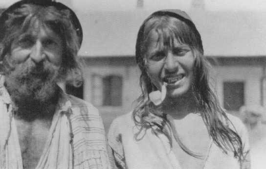 Two Roma (Gypsies) photographed near Craiova. Romania, probably early 1930s. [LCID: 63359]