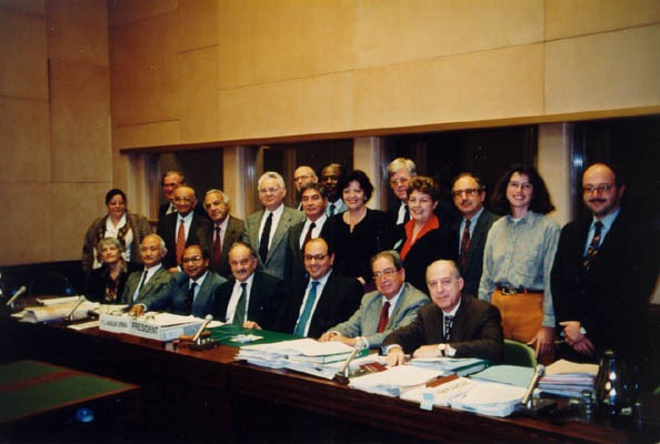 <p>Judge Thomas Buergenthal (top row, fifth from left) and other members of the United Nations Human Rights Committee. 1995.</p>
