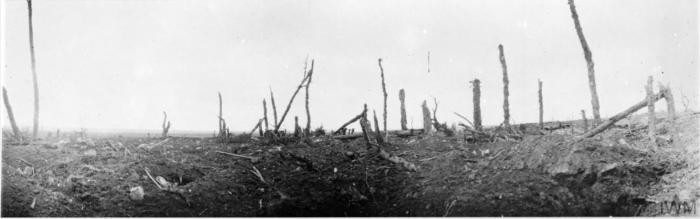 <p>Scene of destruction during World War I: panoramic view of the battlefield at Guillemont, September 1916, during the Battle of the Somme. © IWM (Q 1281)</p>