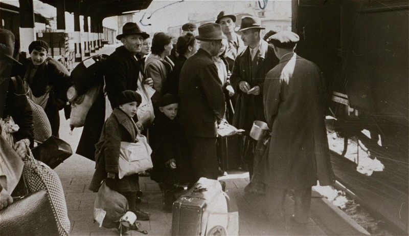 <p>Deportation of Jews from Hanau, near Frankfurt am Main, to the Theresienstadt ghetto. Hanau, Germany, May 30, 1942.</p>
