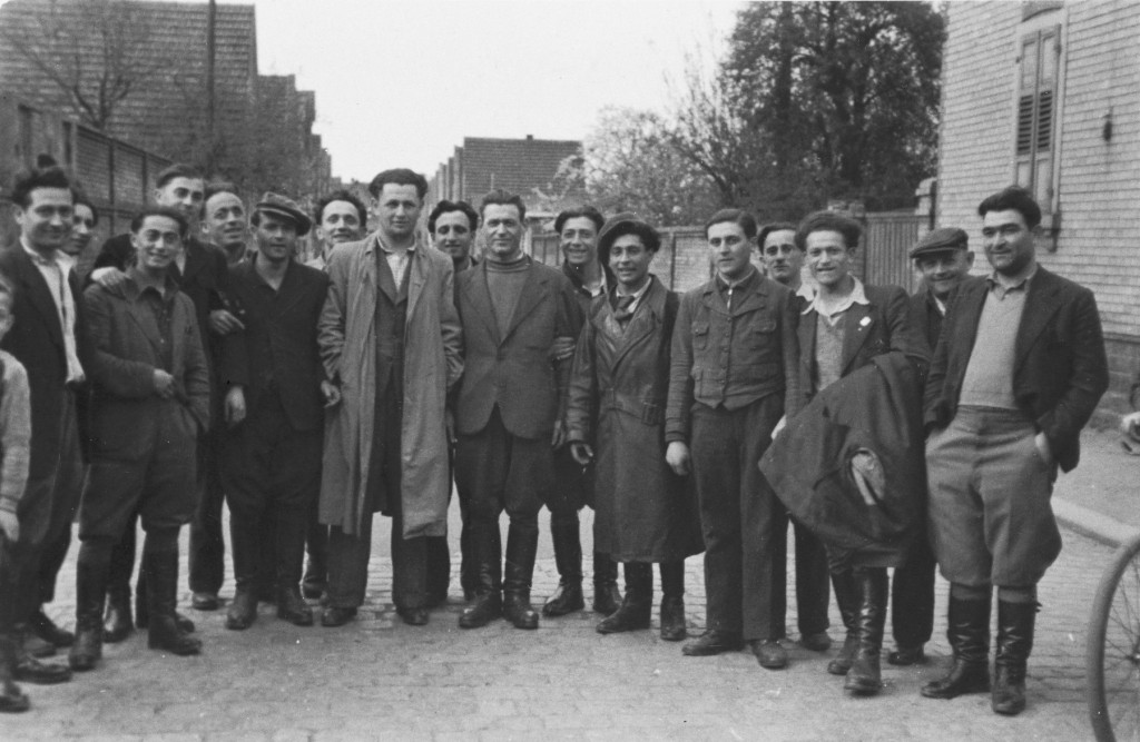 """<p>Young Jewish <a href=""""/narrative/6365"""">displaced persons</a> (DPs) on a street in the <a href=""""/narrative/53523"""">Lampertheim</a> DP camp, circa 1946–1948.</p>"""