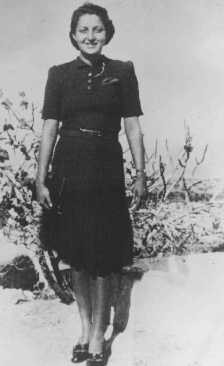 """<p>Hannah Szenes on her first day in Palestine. Haifa, Palestine, September 19, 1939.</p> <p>Between 1943 and 1945, a group of Jewish men and women from Palestine who had volunteered to join the British army parachuted into German-occupied Europe. Their mission was to organize resistance to the Germans and aid in the rescue of Allied personnel. Hannah Szenes was among these volunteers.</p> <p>Szenes was captured in <a href=""""/narrative/6229/en"""">German-occupied Hungary</a> and executed in Budapest on November 7, 1944, at the age of 23.</p>"""