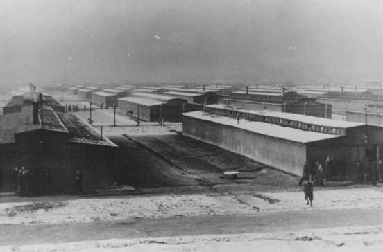 "<p>View of barracks in the women's camp in the Auschwitz-Birkenau <a href=""/narrative/2746"">killing center</a> in German-occupied Poland, 1944.</p>"